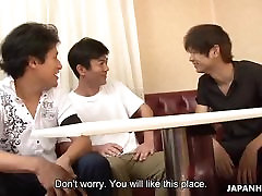 Three dudes order a creamy delight from a hot Asian waitress
