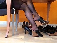Dangling black nylons and heels