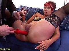 redhead chubby Milf gets anal pumped