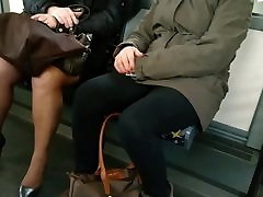 Mature with sexy high heels and pantyhose in the bus 4