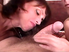 Two older women suck and tug dude&039;s hard cock