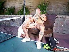 Fucking Big Titty Blonde Teen On The Tennis Court