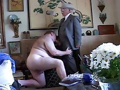Gay old mature grandpa sucking the other grandpa&039;s cock