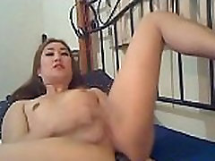 Pretty Asian Tranny Jerks Her Cock