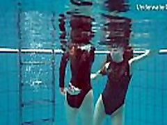 Diana &amp Simonna two oustanding teens in the pool