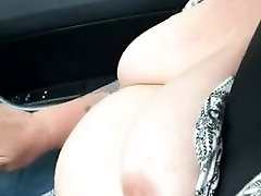 Mature British bbw flashing tits while driving car