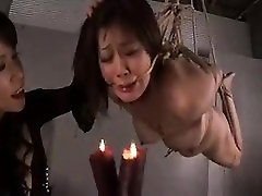 Lustful Japanese wife with big breasts plays out her bondag