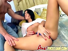Tight asshole stretched by huge white cocked stud