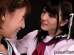 Petite japanese schoolgirl fingering les cunt