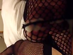 Cum in fishnet panties