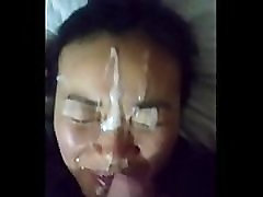 Amateur Asian Babe Gets a Face Full of Cum