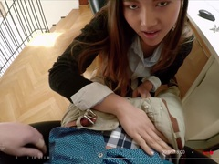 BITCHES ABROAD - Squirting Oriental teen tourist May Thai gets fucked POV by big cock