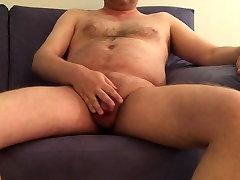 mature exhibitionist - posing blue sofa pt. 3