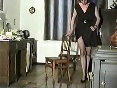 Hairy Mature Pees Standing on a Chair