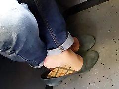 mature tan nylon feet in heel position
