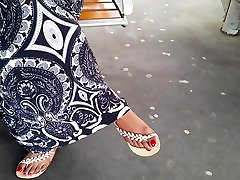 Indian mature feet with red nails