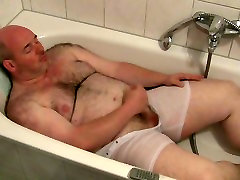 daddy gay bear jerking in tub