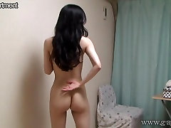 Naked Busty Japanese wears a See-through Lingerie