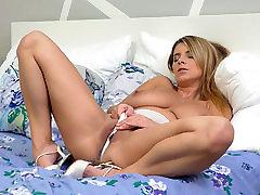 Raunchy huge boobs blonde masturbating in sheer panties