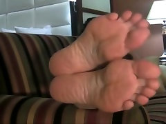 Mature woman showing her feet