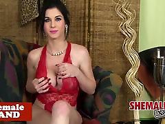 Busty cuban tgirl in lingerie strips n tease