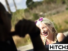 Blonde hitchhiker banged outdoors