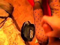 hot vintage dotted stockings footjob and her reward !