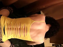 Yellow top and black dildo