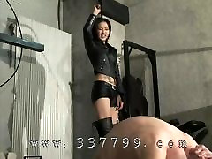 Mistress hit the slaves with a whip and enema
