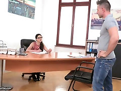 Dirty strict brunette boss with big boobs lures her bodyguard and gets fucked