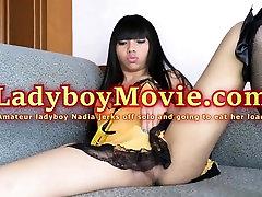 Ladyboy Nadia Jerking Off