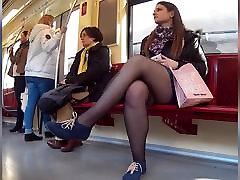 pantyhose girl in metro
