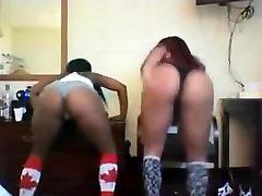 Two black teens twerking