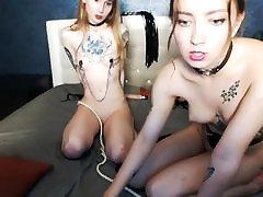 Lesbian bondage on webcam