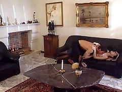 Brunette in black stockings anal