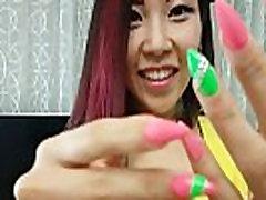 nails fetish Sexy Asian AikoDoll yellow dress