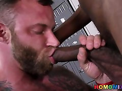 Bearded white man gets assfucked by a black man in the
