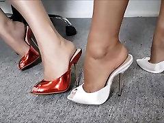 Sisters Modeling Really High Heel Mules