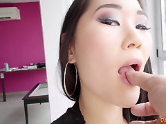 Beautiful long haired Asian beauty with pretty ass is mouthfucked hard enough