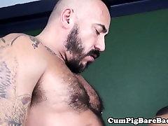 Breeding bear spills cum while fucked by bbc