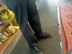 Candid pretty ebony feet at the deli