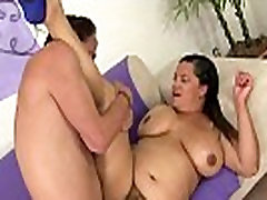 Hairy bbw spoon fucked after blowjob