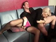 FRENCH mature blonde in a Gangbang