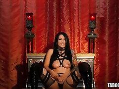Tattooed Katrina Jade riding on a cock