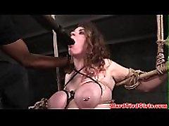 BDSM sun tied up and toyed by interracial dom