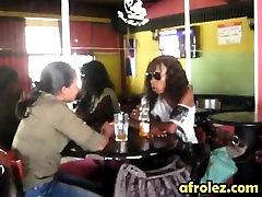 Ebony lesbian babes love to get stuffed