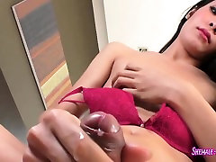 Stunning Asian ladyboy jerking off