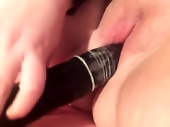 Teen squirting on thick dildo