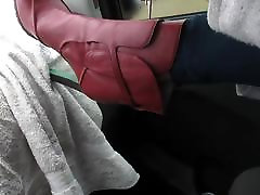 putting my red boots on