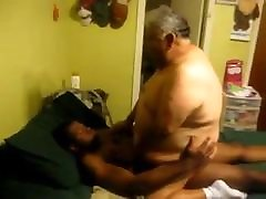 Fat daddy fucked by Black